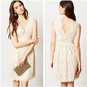 Anthropologie Lace Dress with Gold Slip